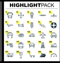Transport icons set collection of flight basket vector