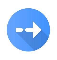 Twisted arrow flat design long shadow glyph icon vector