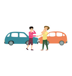 Two smiling men with two cars accident cartoon vector