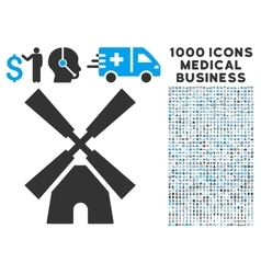 Wind Mill Icon with 1000 Medical Business Symbols vector image