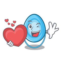 with heart oxygen mask mascot cartoon vector image