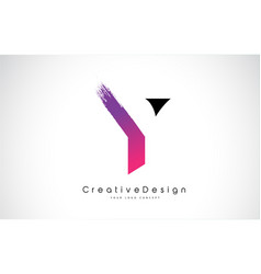 Y letter logo design with creative pink purple vector