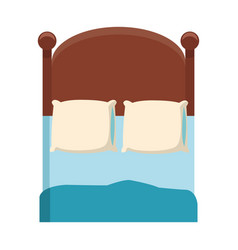 bedroom two pillow blanket wooden image vector image