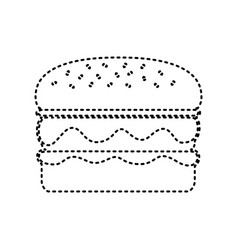 burger simple sign black dashed icon on vector image vector image