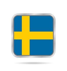 Flag of sweden shiny metallic gray square button vector