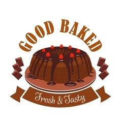 Fresh tasty dessert emblem Chocolate cake icon vector image