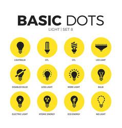 light flat icons set vector image