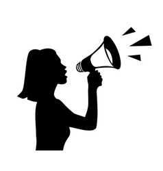 shouting into a megaphone vector image vector image