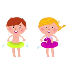 swimming boy and girl vector image vector image