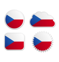Czech Republic flag labels vector image