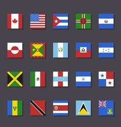 North America flag icon set Metro style vector image vector image