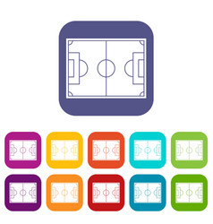 soccer field icons set flat vector image vector image