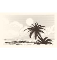 Vintage palm tree sketch vector image