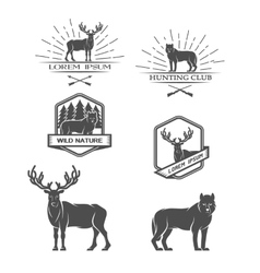 Deer and wolf posters labels emblem vector