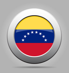 Flag of venezuela shiny metal gray round button vector