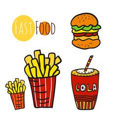 hand drawn fast food set doodle street food fries vector image