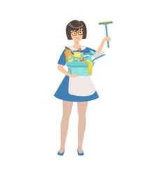 Hotel Professional Maid With Window Washing vector image vector image