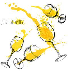juice orange and apple splashes in wine glasses vector image vector image