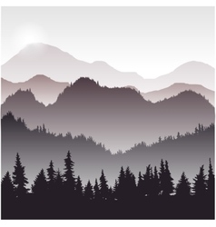 Landscape with fir trees vector