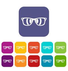 sunglasses icons set vector image