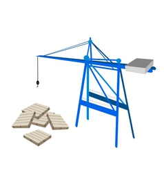 A Blue Mobile Crane with Stack of Wood Pallets vector image