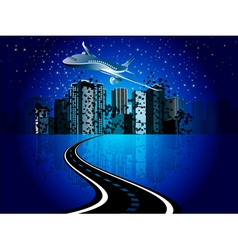 cityscape and plane vector image vector image