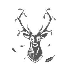 deer head with oak leaves vector image vector image