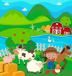 Farmer and farm animals on the farm vector image