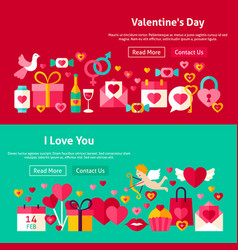 happy valentine day website banners vector image vector image