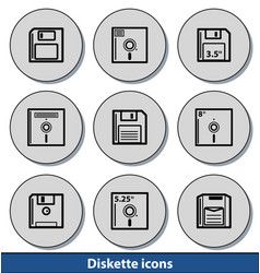 light diskette icons vector image vector image