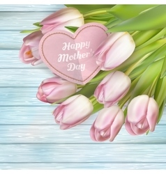 Pink tulips and card EPS 10 vector image vector image