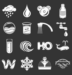 water icons set grey vector image