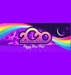 2020 retro wave calendar vector image