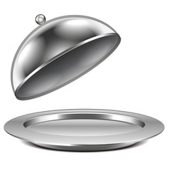 a metal dish with a lid vector image