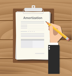 amortization concept with hand business man vector image