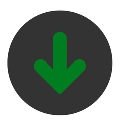 Arrow Down flat green and gray colors round button vector