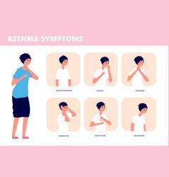 Asthma symptoms person choking chronic breathing vector