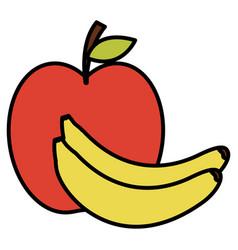 Bananas and apple fresh fruit icon vector