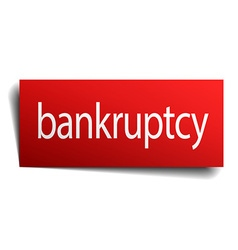 Bankruptcy red paper sign isolated on white vector