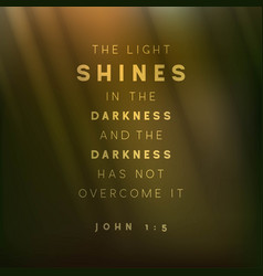 Bible quote light shines in darkness and vector