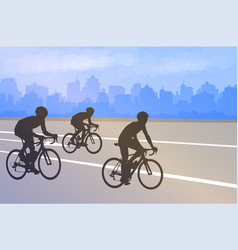 bicyclists silhouettes on abstract city vector image
