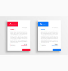 Blue and red letterhead template design vector