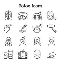 Botox anti aging icon set in thin line style vector