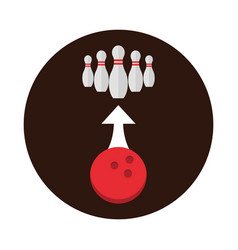 Bowling red ball and pins arrow direction game vector