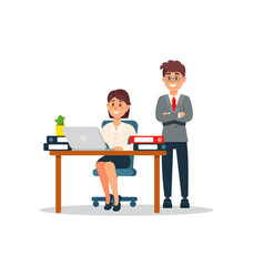 businesswoman sitting at the desk working on vector image