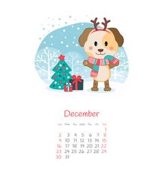 calendar 2018 months december with dog vector image