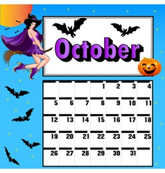 calendar for October bats pumpkin witch vector image