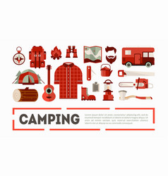 camping and hiking equipment banner outdoor vector image