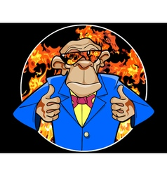 Cartoon ape in a suit and sunglasses vector