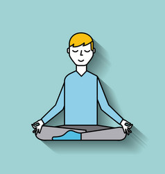 Cartoon man levitating sitting in lotus pose vector